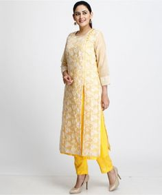 The Mango Duet Double Layered Kurti with Yellow Pants