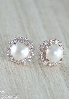 Bridal earrings Ivory Rose Gold pearl