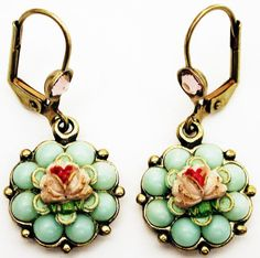 Michal-Negrin-Pink-Green-Vintage-Style-Roses-Beads-Flower-Earrings