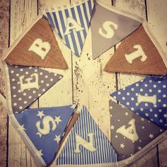 Boys blue, grey and hessian personalised bunting Personalised Bunting, Personalized Gifts, Boy Blue, Blue Grey, Hessian, Make And Sell, Baby Boy, Gift Wrapping, Quilts