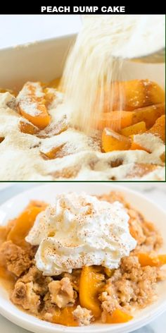 This old-fashioned peach dump cake is quick and easy dessert you'll absolutely love. A dump cake is Cake Mix Cobbler, Peach Cobbler Dump Cake, Peach Cake, Easy Peach Cobbler Recipe With Cake Mix, Peaches And Cream Cake Recipe, Can Peaches Recipes, Homemade Peach Cobbler, Southern Peach Cobbler, Dump Cake Recipes