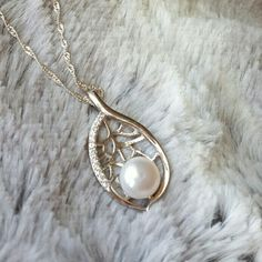 Stunning sterling Silver Pendant Leaf is uniquely designed with Swarovski inlays and Pearl on delicate Sterling Silver necklace Perfect Gift For Her, Gifts For Her, Pearl Necklace, Pendant Necklace, Sterling Silver Necklaces, Swarovski, Delicate, Pearls, Unique Jewelry