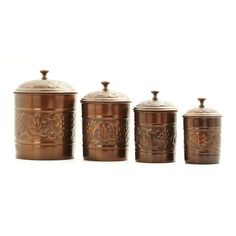 Store kitchen accessories and more with this 4-piece antique kitchen canister set from Old Dutch. Each canister is made of iron and features an antique copper finish and grapevine design, making this set not only practical but elegant.