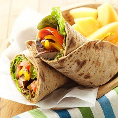 Grilled Portobello and Red Pepper Wraps