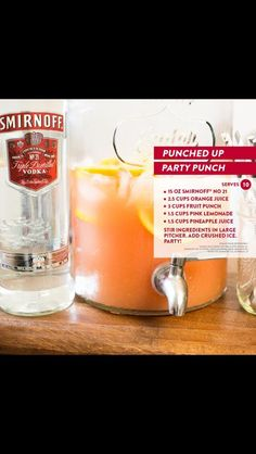 Punched up party punch (smirnoff, orange juice, fruit punch, pink lemonade, pineapple juice) Party Drinks Alcohol, Drinks Alcohol Recipes, Cocktail Drinks, Alcoholic Drinks, Drink Recipes, Hawaiian Party Drinks, Bachelorette Party Drinks, Vodka Recipes, Meal Recipes