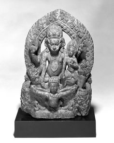 Narasimha, 17th century. Gray sandstone, 12 5/8 x 8 5/8 x 2 7/8 in. (32.4 x 21.8 x 7.5 cm). Brooklyn Museum, Gift of Stephanie and David W. Young, 1991.82. Creative Commons-BY (Photo: Brooklyn Museum, 1991.82_bw.jpg)