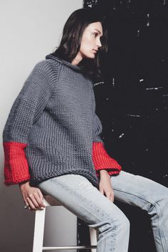 AW14 Lookbook for Confined Space Ethical fashion - Hand Knitted grey Jumper by Sheep of Steel, reclaimed vintage denim jeans sourced & recycled bronze ring by @ginamelosi   Sustainable Style from independent designers