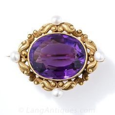 Art Nouveau Amethyst and Pearl Watch Pin - 50-1-2435 - Lang Antiques