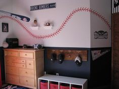 Baseball Bedroom - love the locker room style coat/hat rack with the players names and numbers --   for when i have a little boy