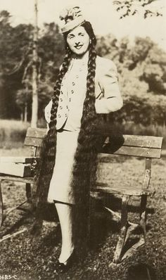 Aha!  So there were still some women who had long hair in the 1940s... '40s long hair contest winner.