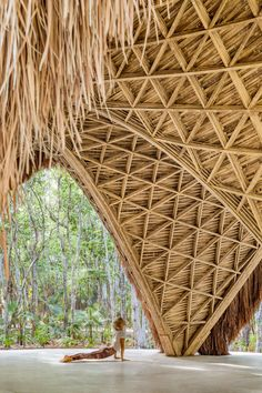 CO-LAB Design Office creates bamboo yoga pavilion in Tulum Tulum Mexico, Bamboo Architecture, Interior Architecture, Natural Architecture, Parametric Architecture, Gothic Architecture, Bamboo Structure, Bamboo Construction, Triangular Pattern