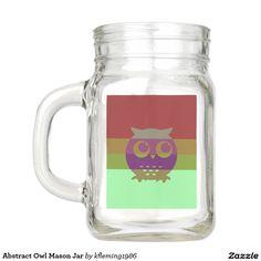 Abstract Owl Mason Jar