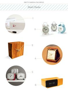 Pretty Paper in the Office: Desk Clocks | Images via their respective sources