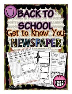 BACK TO SCHOOL / BEGINNING OF THE YEAR ACTIVITY- Get to know your students during the first week back to school with this creative writing newspaper activity. Students will enjoy sharing their forecasts, opinions, comics and classified ads.