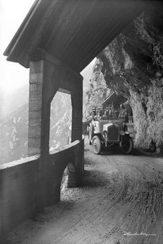 Bus am Flexenpass III Alps, Street Photography, History, Retro, Poster, Vintage, Photos, Historical Pictures, Mountains