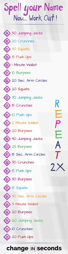 Spell Your Name Workout (I thought this was pretty cool so I had to share it.) Spell Your Name Workout FREE PDF! Have Fun With This Unqiue Workout. It Is A Llst Of The Alphabet, A To Z, With A Specific Exercise Next To Each Letter. Fitness Workouts, Fitness Herausforderungen, Physical Fitness, Health Fitness, Fitness Motivation, Fitness Women, Fitness Goals, Mental Health Articles, Health And Fitness Articles
