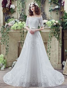 Vestido de noiva Off-a-ombro do laço mangas meia com cauda