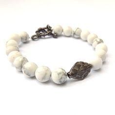White Howlite and Gunmetal Gemstone Bracelet by ElunaJewelry on Etsy