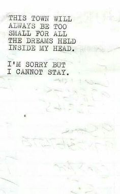 I cannot stay...