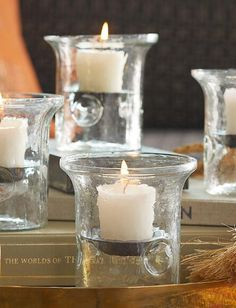 Set Any Occasion Aglow With These Blown Glass Hurricane Candle Holders