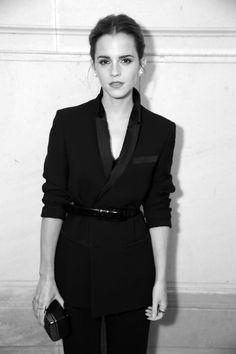emma watson - belted black tuxedo jacket.