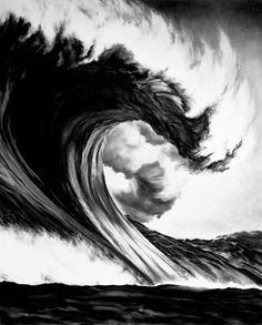 Brooklyn-based artist Robert Longo made these incredible drawings of massive, thundering waves using just charcoal (on mounted paper). Charcoal Art, Charcoal Drawings, Ouvrages D'art, Wow Art, Art Graphique, Pics Art, Drawing People, Oeuvre D'art, Urban Art