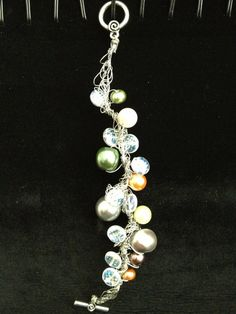 Multicolored Simulated Pearl Wire Crochet by LadybugCharJewelry, $20.00