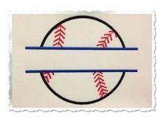 Applique Split Baseball or Softball Machine Embroidery Design