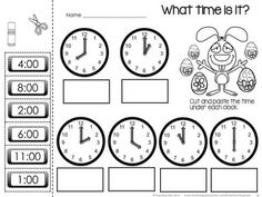 Time: Clock Cut and Paste Activity - Telling Time to the Nearest ...