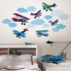 Wall Pops Mighty Vintage Planes Wall Decals @Layla Grayce