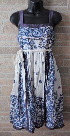 94b84385ca343 Anthropologie Maeve Catmint Dress Size 4 Floral Blue White A Line Button  Cotton #Anthropologie #