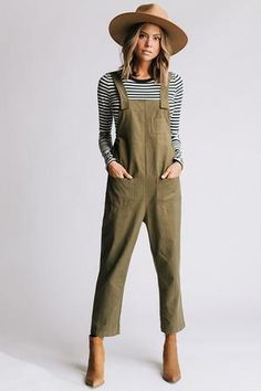 Details: Overall jumpsuit Olive color Cute stitching detail Measurements: Measurements are approximate and taken while laying flat across the front. XS: Bust = Length = S: Bust = Length = M: Bust = Length = L: Bust = Length = - Overalls Outfit, Jumpsuit Outfit, Casual Jumpsuit, Overalls Women, Dungarees, Winter Outfits, Casual Outfits, Summer Outfits, Cute Outfits