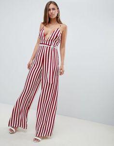 55a5a6847c5f Missguided Cami Stripe Tie Waist Jumpsuit