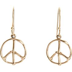 Dean Harris Gold Peace Sign Earrings ($109) ❤ liked on Polyvore featuring jewelry, earrings, accessories, brincos, schmuck, gold peace sign earrings, gold earrings, yellow gold jewelry, 18k earrings and gold jewellery
