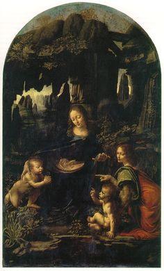 Leonardo da Vinci   La vergine delle rocce   olio su tavola trasportato su tela   1483-86   Louvre di Parigi  