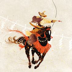 "shino's illustration works — 流鏑馬 ""Yabusame"" © shino All rights reserved. Samurai Artwork, Japanese Warrior, Jewelry Design Drawing, Japan Art, Japanese Culture, Archery, Concept Art, Images, Illustration Art"