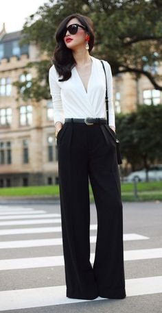 Interview, Office work to dinner outfit. Nicole Warne Australian Fashionista LOVE this outfit Mode Chic, Mode Style, Men's Style, Black And White Outfit, Black White, White Outfits, Work Outfits, Outfit Work, Emo Outfits