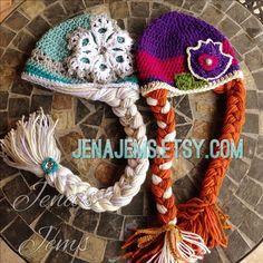 Anna From Frozen Crochet Hat   Frozen Ice Queen & Princess Wig Hat by JenasJems on Etsy   Elsa   Anna ...