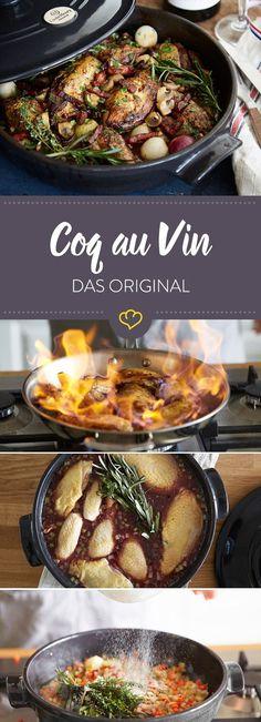 Du suchst noch ein richtig gutes Schmorgericht für Herbst und Winter? Du hast es gefunden! Dieses Coq-au-Vin Rezept macht einfach nur süchtig.