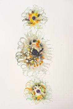 3 Sunflowers watercolor 60x50 cm.