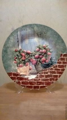 Guarda los Pines más populares sobre blusas y decoupage - luisaiglesias79@gmail.com - Gmail Decoupage Plates, Decoupage Furniture, Decoupage Vintage, Glass Painting Designs, Plaster Art, Clay Art Projects, Mosaic Wall Art, Sculpture Painting, Altered Bottles
