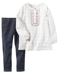 Baby Girl 2-Piece Poplin Top & Jegging Set | Carters.com, size 12 mos