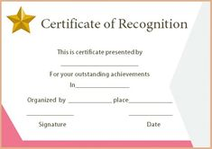 Certificate of Recognition Templates: Best Ideas and Free Samples - Demplates Certificate Of Recognition Template, Blank Certificate Template, Certificate Of Appreciation, Free Samples, Are You The One, Royalty Free Stock Photos, Good Things, Ideas, Thoughts