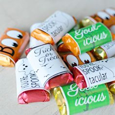 Dress up a typical mini candy bar using these FREE candy bar wrappers