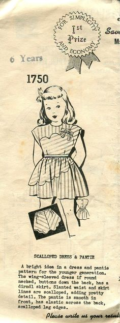 1940s Girls Mail Order Dress Pattern 1750 by PengyPatterns on Etsy
