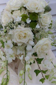 www.teresaferrando.com #cascading bridal bouquet. #white roses, dendrobium #orchids,  Queen Anne lace and lacecap #hydrangeas.