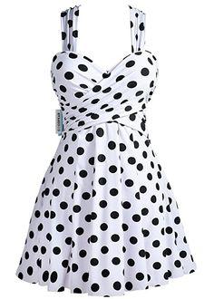 Amazon.com: COCOPEAR Women Elegant Crossover One Piece Swimdress Floral Skirted Swimsuit(FBA),Black,Large / 8-10: Clothing