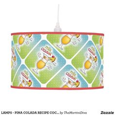 LAMPS - PINA COLADA RECIPE COCKTAIL ART Ceiling Hooks, Linen Lamp Shades, Colorful Drawings, Rice Paper, Office Gifts, Pendant Lamp, Original Artwork, Lamps, Vibrant Colors