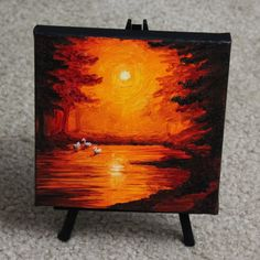 "Mini Swan Pond - 6x6"" oil painting - Colleen - scenesbycolleen.com"