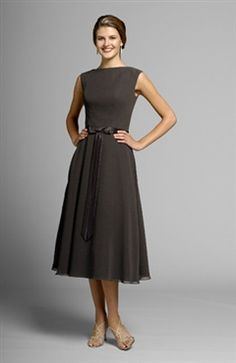 This is so Susie! Tea-length Browns High Neck Sleeveless Bridesmaid Dresses - Bridesmaid Dresses - OuterInner.com